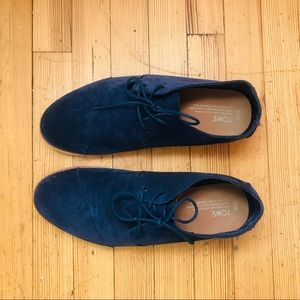 Men's Toms Navy Suede Lace Up Shoes